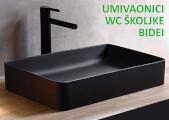 Crni umivaonici i wc školjke